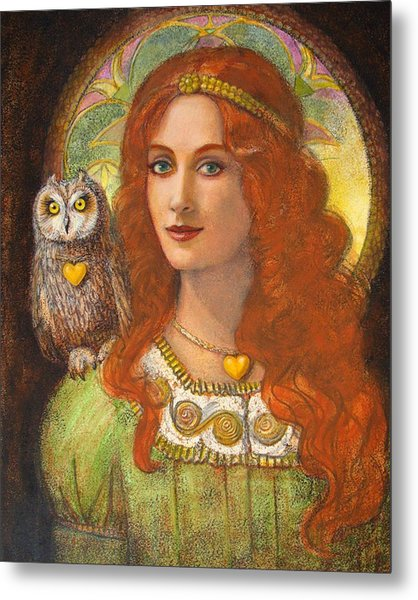 Athena And Her Owl- Wise Ones Metal Print