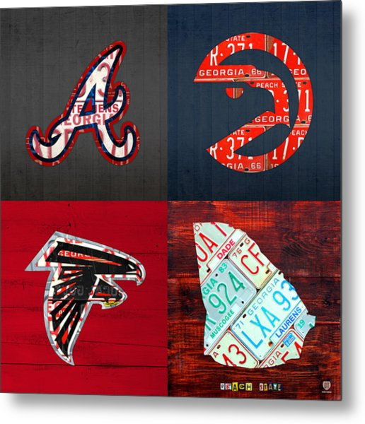 Atlanta Sports Fan Recycled Vintage Georgia License Plate Art Braves Hawks Falcons Plus State Map Metal Print