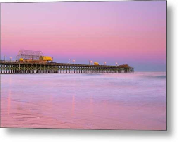 Metal Print featuring the photograph Atlantic Ocean And The Apache Pier At Sunset In South Carolina by Ranjay Mitra