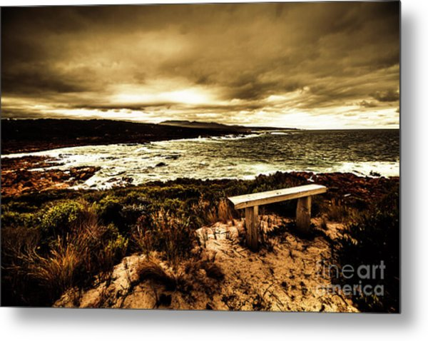 Atmospheric Beach Artwork Metal Print