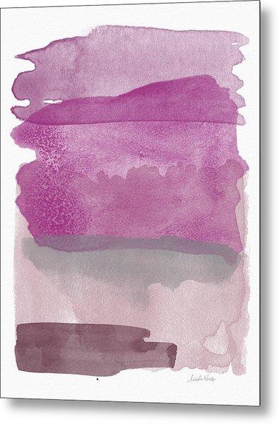 Aubergine Wash- Art By Linda Woods Metal Print