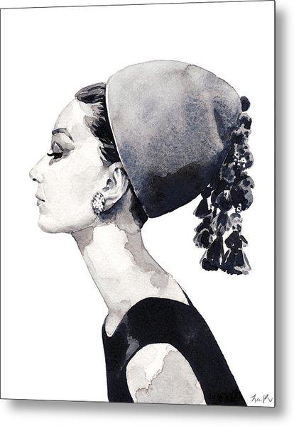 Audrey Hepburn For Vogue 1964 Couture Metal Print