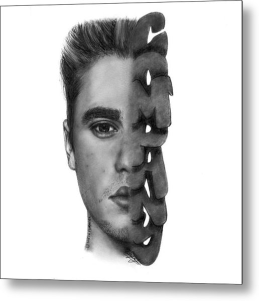 Justin Bieber Drawing By Sofia Furniel Metal Print