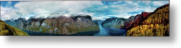 Aurlandsfjorden Panorama Revisited Metal Print