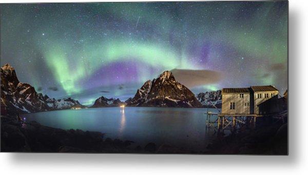 Aurora Above Reinefjord Metal Print