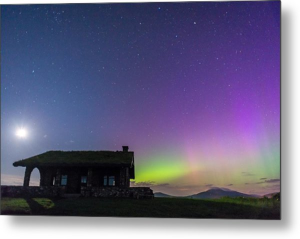 Aurora And Moon From Beech Hill Metal Print by Tim Sullivan