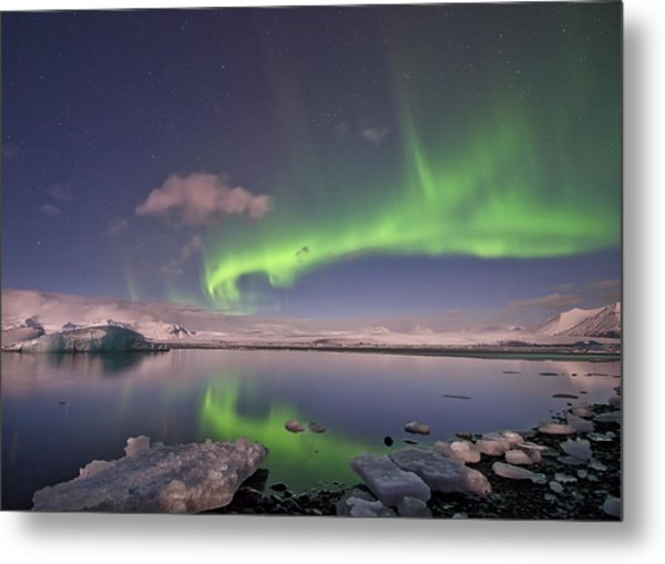Aurora Borealis And Reflection #2 Metal Print