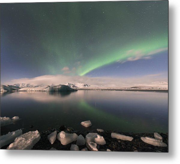 Aurora Borealis And Reflection Metal Print