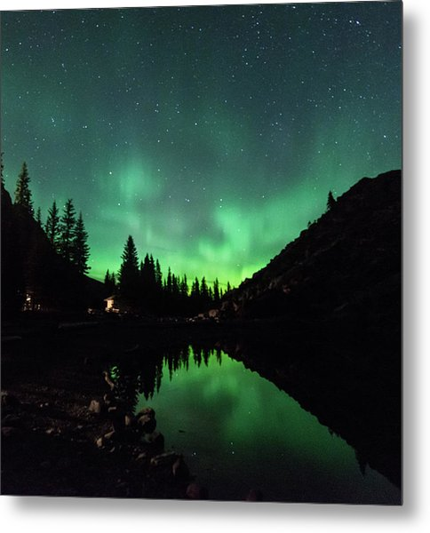 Aurora On Moraine Lake Metal Print