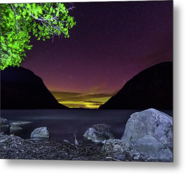 Aurora Over Lake Willoughby Metal Print