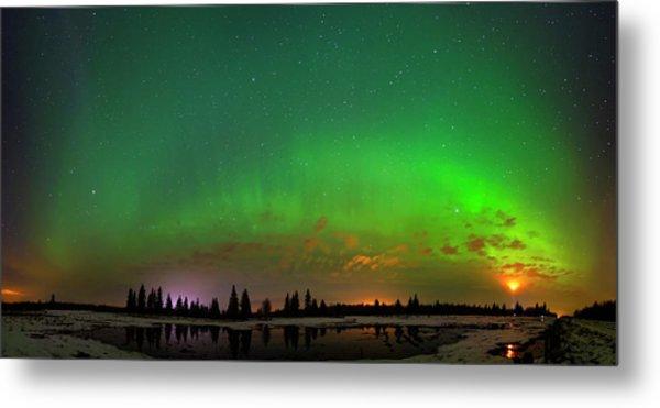 Aurora Over Pond Panorama Metal Print