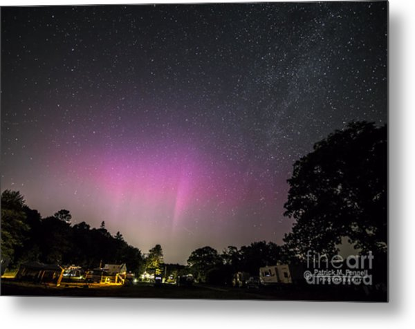 Aurora Over Sagadahoc Bay Campground Metal Print