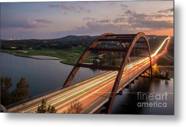 Austin 360 Bridge At Night Metal Print