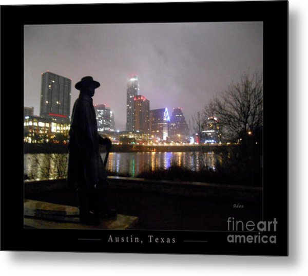 Austin Hike And Bike Trail - Iconic Austin Statue Stevie Ray Vaughn - One Greeting Card Poster Metal Print