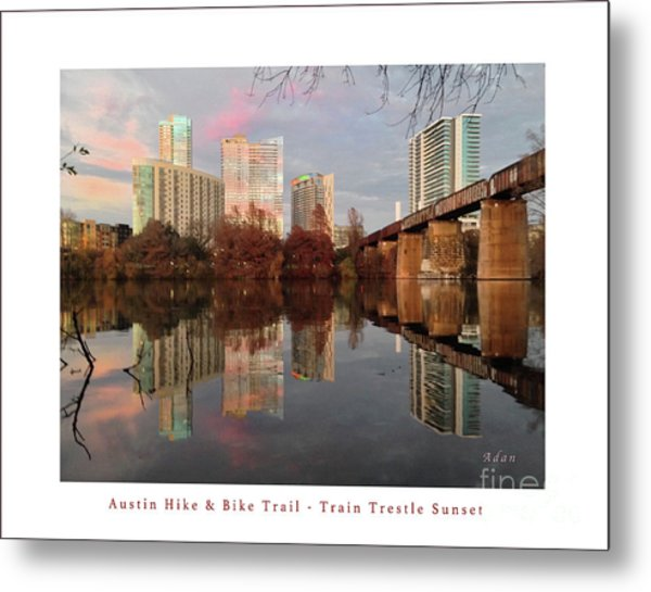 Austin Hike And Bike Trail - Train Trestle 1 Sunset Left Greeting Card Poster - Over Lady Bird Lake Metal Print