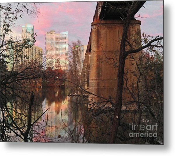 Austin Hike And Bike Trail - Train Trestle 1 Sunset Triptych Middle Metal Print