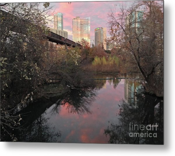 Austin Hike And Bike Trail - Train Trestle 1 Sunset Triptych Right Metal Print
