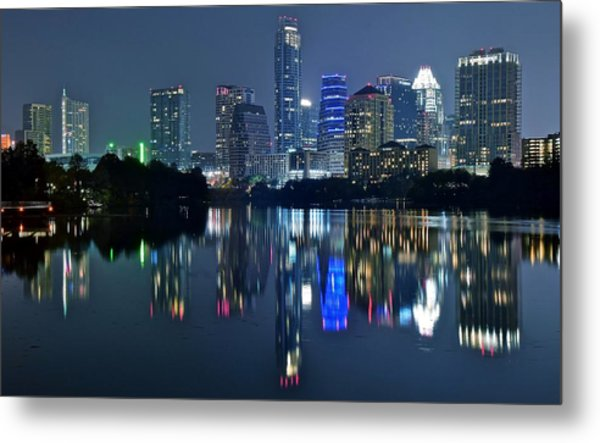 Austin Night Reflection Metal Print