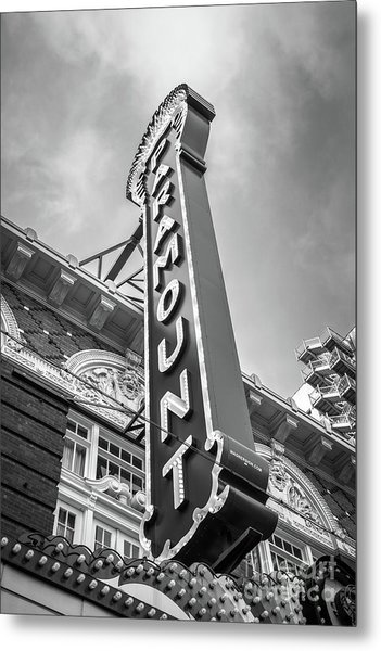 Austin Paramount Theatre Sign Black And White Photo Metal Print by Paul Velgos