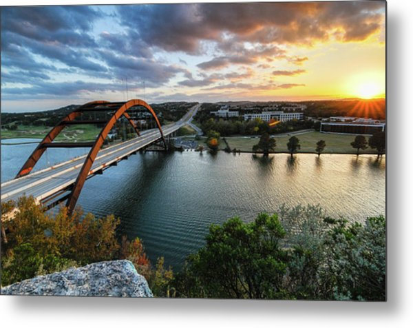Austin Pennybacker 360 Bridge Sunset Metal Print by Preston Broadfoot