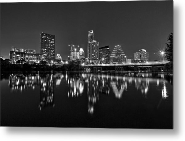 Metal Print featuring the photograph Austin Skyline At Night Black And White by Todd Aaron
