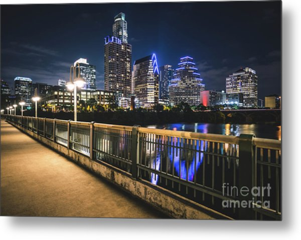 Austin Skyline At Night In Austin Texas Metal Print by Paul Velgos