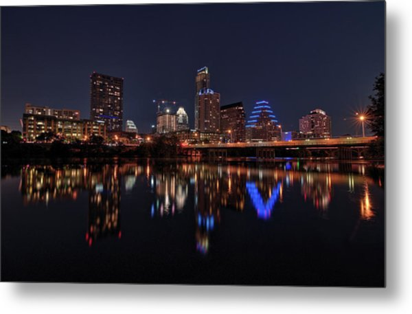Austin Skyline At Night Metal Print