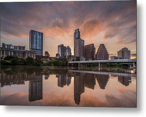 Metal Print featuring the photograph Austin Skyline Sunrise Reflection by Todd Aaron