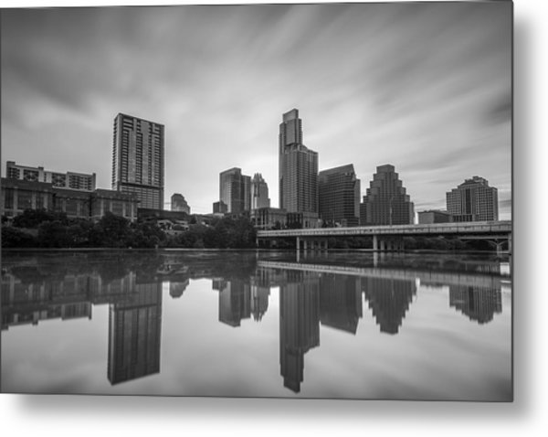 Metal Print featuring the photograph Austin Texas Skyline Reflecting In Ladybird Lake Long Exposure by Todd Aaron