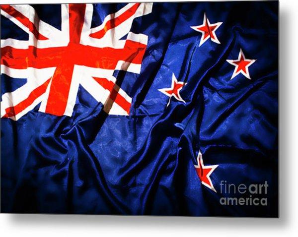 New Zealand Flag Art Metal Print
