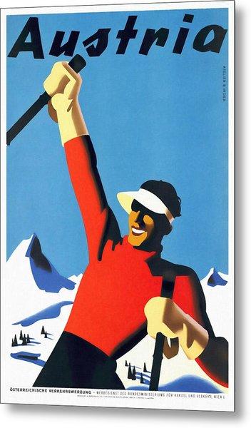 Austria Ski Tourism - Vintage Poster Restored Metal Print