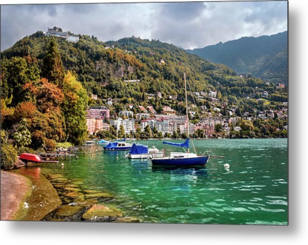 Autumn Approaches In Montreux Switzerland  Metal Print