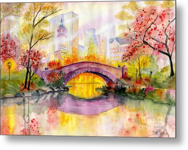 Autumn At Gapstow Bridge Central Park Metal Print