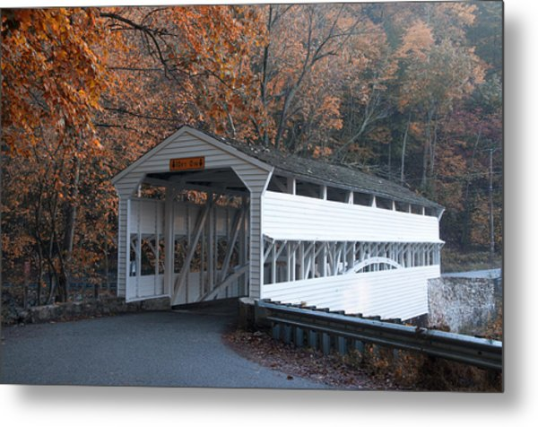 Autumn At Knox Covered Bridge In Valley Forge Metal Print