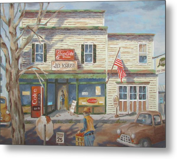 Autumn At The Corner Country Store Metal Print
