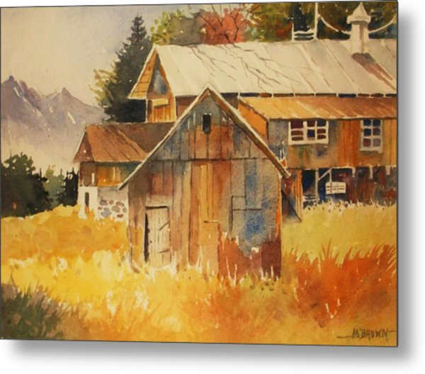 Autumn Barn And Sheds Metal Print