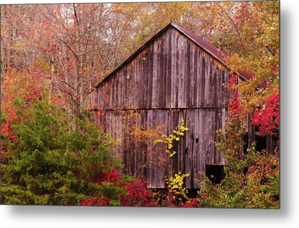 Autumn Barn Metal Print