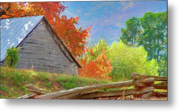 Autumn Barn Digital Watercolor Metal Print