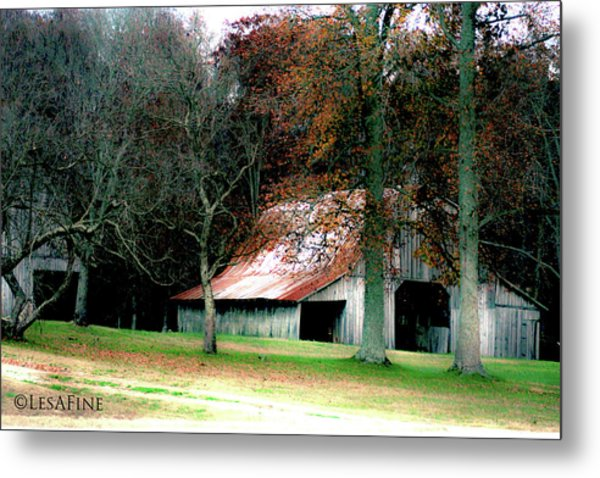 Autumn Barn In Alabama Metal Print