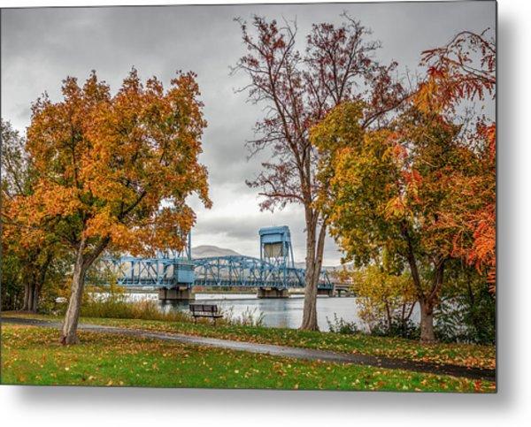 Autumn Blue Bridge Metal Print