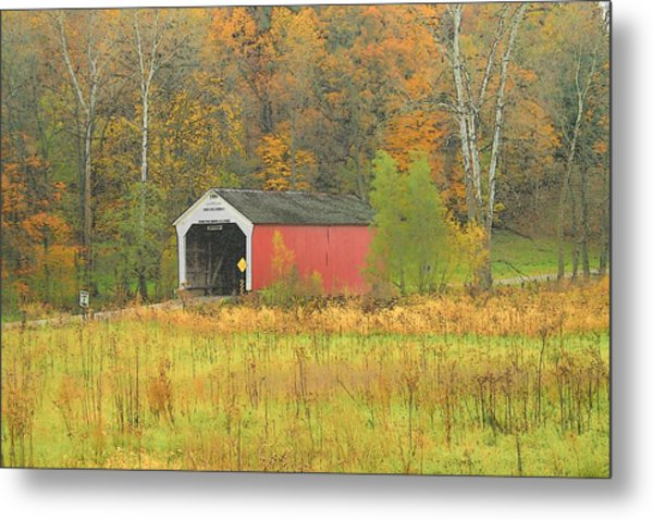 Autumn Bridge Metal Print