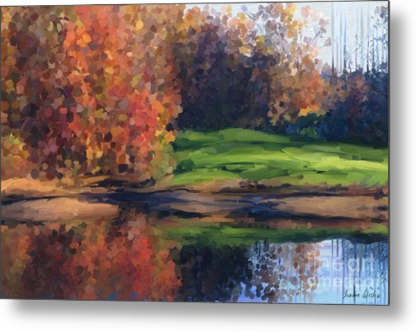 Autumn By Water Metal Print