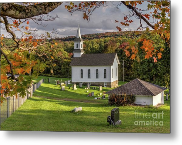 Autumn Church Metal Print