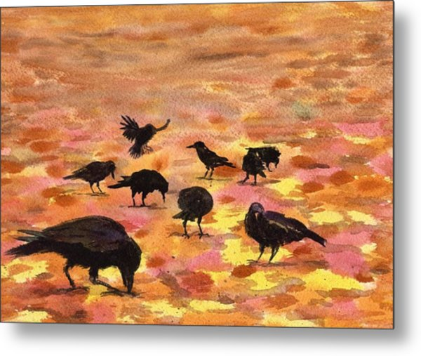 Autumn Crows Metal Print by Mimi Boothby
