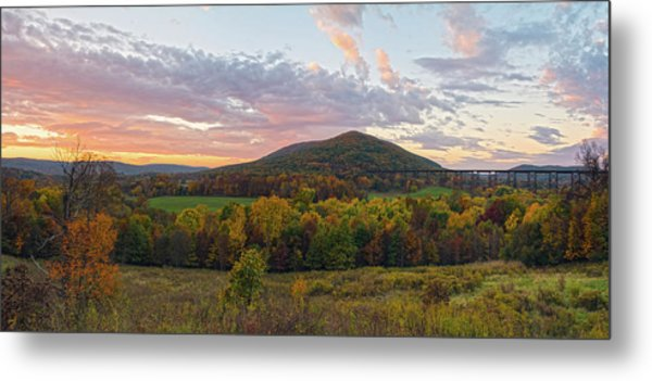 Autumn Dawn At Moodna Viaduct Trestle Panorama  Metal Print