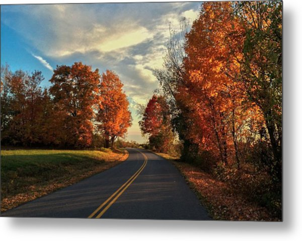 Autumn Drive Metal Print