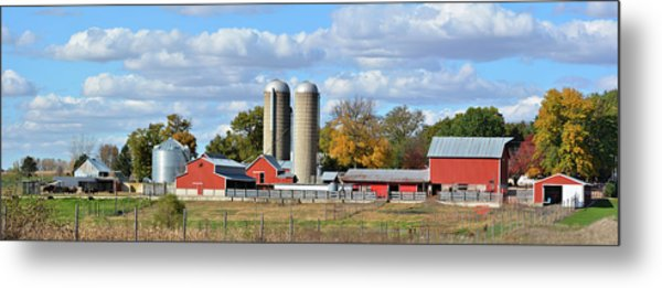 Autumn Elk Farm Metal Print