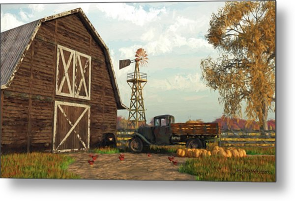 Autumn Farm Scene Metal Print