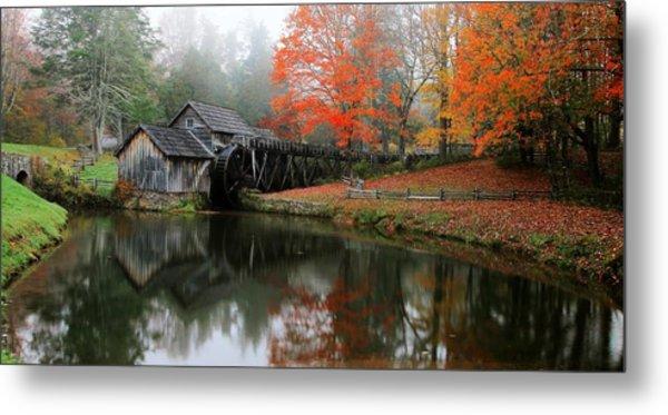 Autumn Foggy Morning At Mabry Mill Virginia  Metal Print