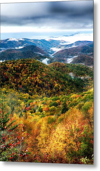 Metal Print featuring the photograph Autumn Foliage On Blue Ridge Parkway Near Maggie Valley North Ca by Alex Grichenko